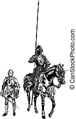 Soldier and Knight on a Horse - Adobe ilustrator, Vector...