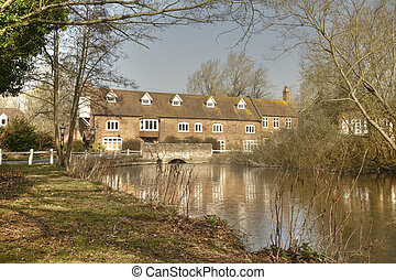Denford Mill on the River Kennet near Hungerford, Berkshire,...