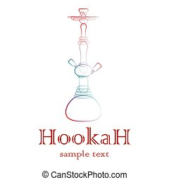Hookah silhouette outline - Big hookah silhouette with color...