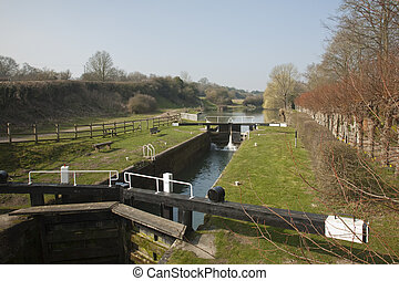 Dun Mill lock on the Kennet and Avon Canal near Hungerford,...