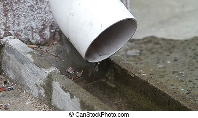 Water drips from the drain pipe