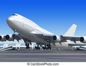 get away - big flying up passenger airplane on airport...
