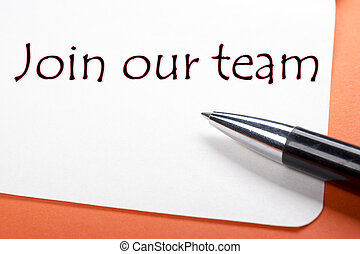 Join our team. Office desk table with notepad, pen. Top view.