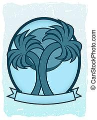 Twin Palm Sun Badge Oval Banner Gra