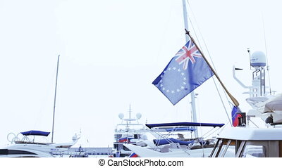 Britain Flag with stars - UK flag hanging on stern of ship...
