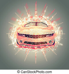 Abstract Muscle Car Illustration