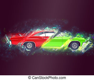 Abstract muscle car illustration - red and green