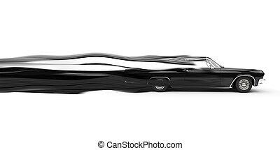 Classic muscle black car - speed trails