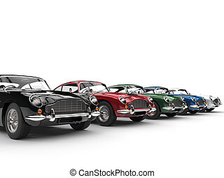 Row of awesome vintage cars - on white background