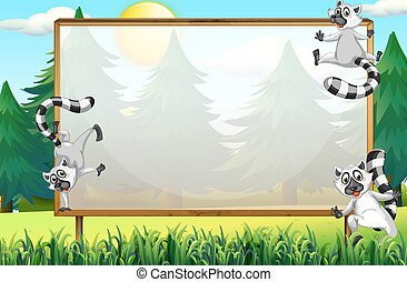 Frame design with lemurs in the park illustration