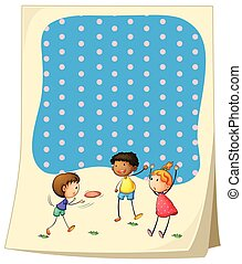 Paper design with children playing frisbee illustration