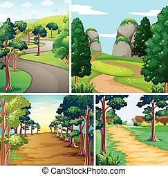 Nature scene with roads and forest illustration