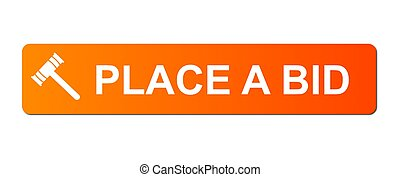 Place Bid Orange - Place Bid button with a auction hammer on...