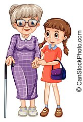 Little girl and grandmother