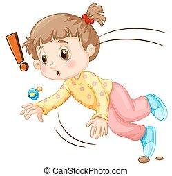 Little girl falling down illustration