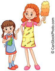 Girl helping mom cleaning house illustration