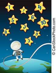 Numbers on stars and astronaunt flying