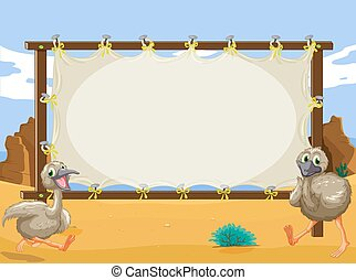 Frame design with two ostriches illustration