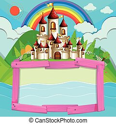 Frame design with castle and rainbow illustration