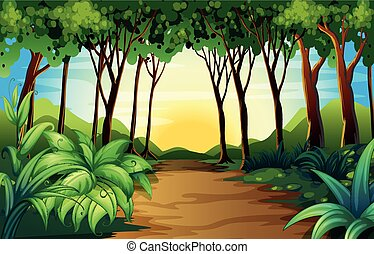 Nature scene with track in the woods illustration