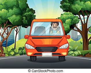 Man driving car on the road