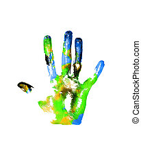 Earth handprints - Handprints with imitation of Earth on...
