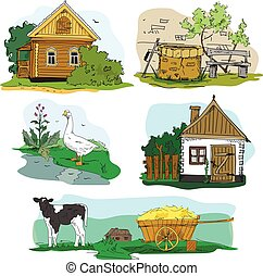 Hand drawn vector with houses in village, animals and countryside landscape. Cartoon illustration.
