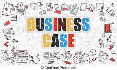 Multicolor Business Case on White Brickwall Doodle Style -...