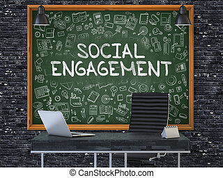 Social Engagement Concept Doodle Icons on Chalkboard -...
