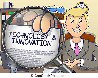 Technology and Innovation through Magnifying Glass. Doodle Style.