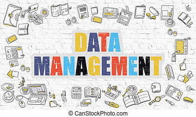 Multicolor Data Management on White Brickwall Doodle Style -...