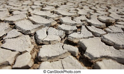 Dry Cracked Land. Movement from right to left. - Cracked...