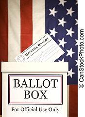 Ballot Box Vertical - Vertical shot of a ballot box in front...