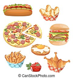 set of fast food products