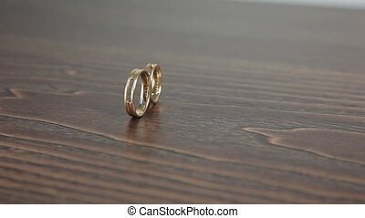 Wedding rings on the table rotation