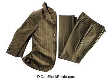 Isolated formal wear apparel - Partially folded brown pin...