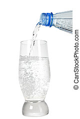 Mineral water and wave to glass - Mineral water is being...