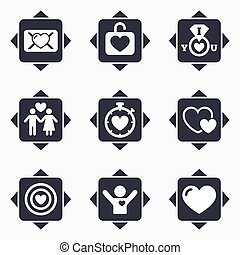 Love, valentine day icons Target with heart - Icons with...