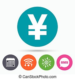 Yen sign icon JPY currency symbol - Wifi, Sms and calendar...