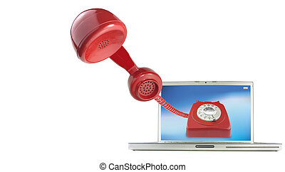 Calling by telephone over the internet using a computer