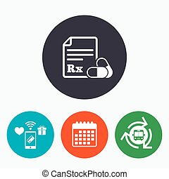 Medical prescription Rx sign icon Pharmacy - Medical...