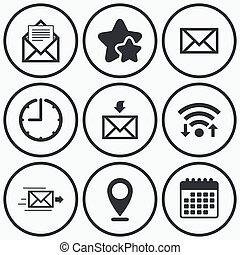 Mail envelope icons Message document symbols - Clock, wifi...
