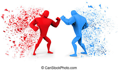 3D Red and Blue Fighters