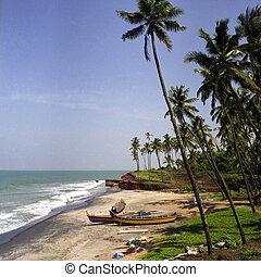 Kerala beach - A beach in Kerala, India, with two small...