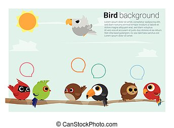 birds on branches background