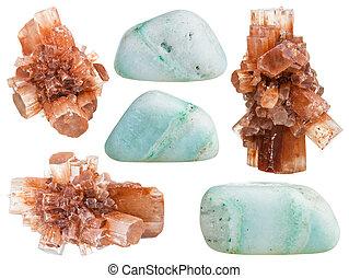 Conjunto, de, aragonite, Cristales, y, pulido, piedras,