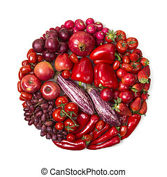 Circle of red fruits and vegetables