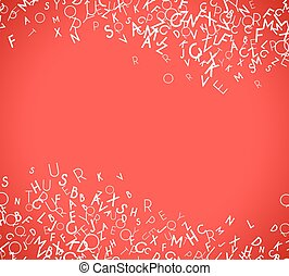Abstract white alphabet ornament frame isolated on red background