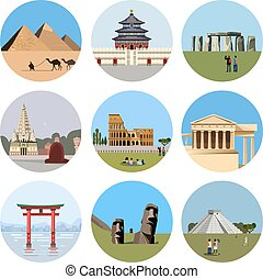 World landmarks flat icon set Vector travel illustration...