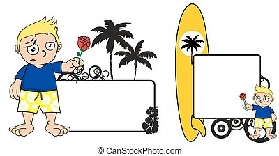 kid surfer expression cartoon set2